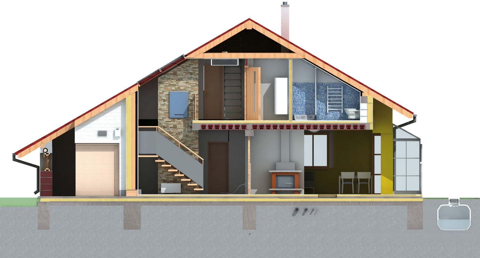 proiectare casa cu mansarda - sectiune
